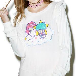 JapanLa dreamy twin star ruffled sweater